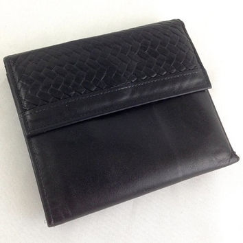 Mens Black Leather Billfold Wallet Vintage Rolf's American Classic Cowhide Wallet Zippered Coin Pocket & Two Key Holders 80's Weave Pattern