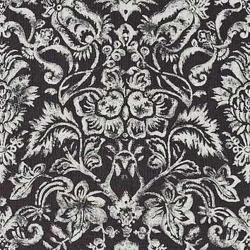Scalamandre Fabric 16598-003 Mansfield Damask Print Graphite & Silver