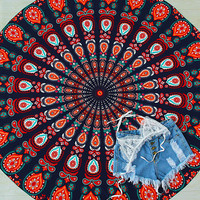 Multicolor Tribal Print Vintage Round Beach Blanket