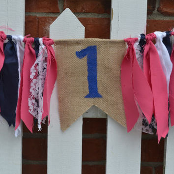 Burlap Pendant High Chair fabric banner with #1 painted blue and hot pink, navy and white accents preppy birthday nautical birthday