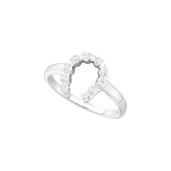 10kt White Gold Womens Round Diamond Simple Lucky Horseshoe Ring 1/20 Cttw