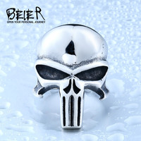 Beier new store 316L Stainless Steel men ring the Punisher skull ring punk biker fashion jewelry BR8-407