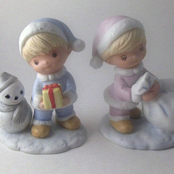 Vintage Figurines Set of Two Porcelain Homco Figurines: Boy and Girl with Gifts and Snowman