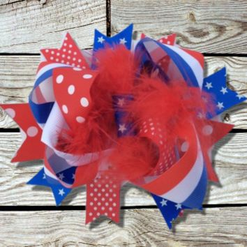 July 4th Girl's Hair Bow