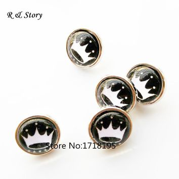 New crown 12mm Snaps small black snap buttons charms jewelry SB_264
