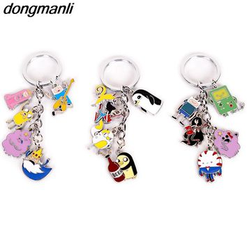 P1638 Dongmanli Animation Adventure Time Metal enamel Car Keychain key Rings kids gift