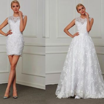Two in One A line Wedding Dresses Detachable Tail Embroidery Elegant Lace Bridal Gowns