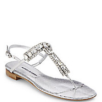 Manolo Blahnik - Zanfimod Jeweled Metallic Leather Thong Sandals - Saks Fifth Avenue Mobile