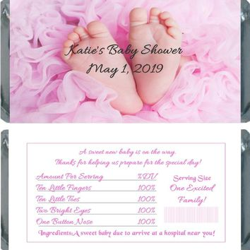 10 Girl Baby Feet Baby Shower Chocolate Bar Wrappers