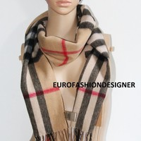 Authentic Burberry Giant Nova Check Scarf 100% Cashmere Camel