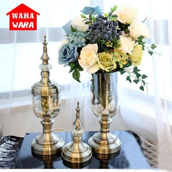 European Retro Glass Vase Metal Alloy Gold Vase Modern Table Creative Home Decorative Artificial Flower Bottle for Wedding