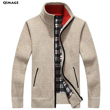 Men's Sweaters Autumn Winter Warm Cashmere Wool Zipper Pullover Sweaters