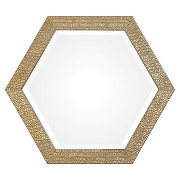 Hanisha Hexagonal Honeycomb Antiqued Gold Wall Mirror by Uttermost
