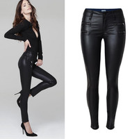 Black Low Waist Double Zippered PU Leather Pants