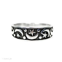 Sterling Silver Antiqued Finish Moon and Stars Band
