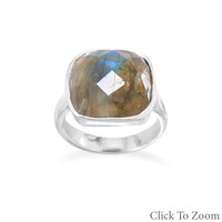 Women's Checkerboard Cut Labradorite Ring