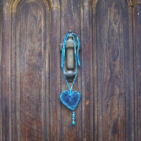 Hanging Black and Blue Heart