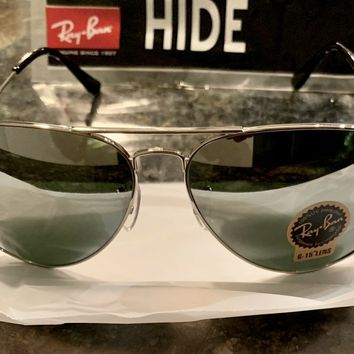 NEW Ray Ban Aviator RB3026 Classic Silver Mirrored Lens/Silver Frame Large 62mm.