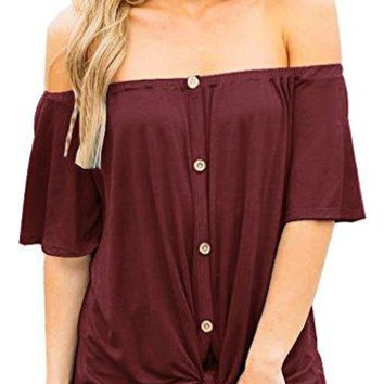 ETCYY Womens Off Shoulder Button Down Front Tie Blouse Half Sleeve Casual Tops Shirt