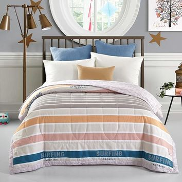 colour stripe nap Throw 100% Cotton summer Blanket quilted air-condition Quilt Duvet Twin Queen size thin Comforter Bedspread
