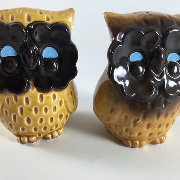 Vintage Owl Ceramic Salt And Pepper Shakers Retro Big Eyes Tan Brown Blue Bird 1960 1970 Kitsch Mid Century Kitchen Decor