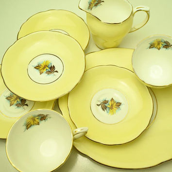 Rare Pattern Vintage Duchess Bone China England Yellow Color Small Tea Set