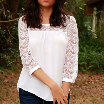 Lace Panel Blouse Ivory