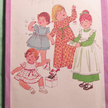Sale Uncut 1970's Simplicity Sewing Pattern, 8279! Size 1 Toddlers/Infants/Girls/Pinafore Dress/Long or Short Dress/Long or Short Sleeves/Co
