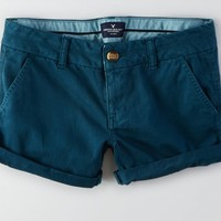 AEO Women's Rolled Midi Short (Teal)