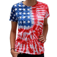 Hot sale T Shirt Women Short Sleeve fashion American Flag Casual summer crop Tops T-Shirt high quality Tshirt Camisetas Mujer#5