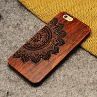 Wood iPhone 6 / 6 Pluse /5 / 5S case, iphone 5 case , Wood  Iphone Cover, Wooden Iphone Case--Rosewood --Flower/Skull on Case--A2008