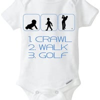 "Funny Silhouette Baby Boy Gift: Gerber Onesuit brand body suit ""1. Crawl 2. Walk 3. Golf"" - Perfect new baby gift for Golfing Parents!"