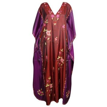 Mogul Silk Blend Embroidered Dress Double Shaded Lounge Wear Caftan Beach Dresses Resort Wear Luxury Maxi Caftan - Walmart.com