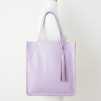 Lavender Leather Tote with Tassel Charm, Everyday Leather Shoulder Bag, Pastel Purple Leather Tote, Leather Shopper, Limited Edition Tote