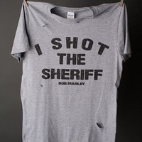 "Gina ""I Shot The Sheriff"" Lt Grey Destroyed Tee"