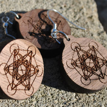 Pin and earring - Sacred Geometry Metatron's Cube walnut cherry wooden upcycled wood laser engraved