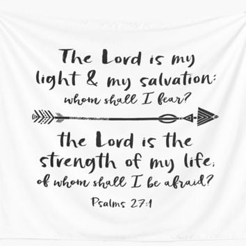 'Psalms: The Lord is my Light & my Salvation Verse' Wall Tapestry by motivateme