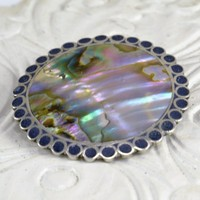 Taxco Pendant Brooch - 925 Silver Lapis Lazuli Abalone  - Stylized Sun - Large Size - Vintage Mexico Artisan Signed A. Garcia
