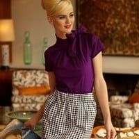 Panorama Cotton Stretch Blouse with Side Bow and Puff Sleeves