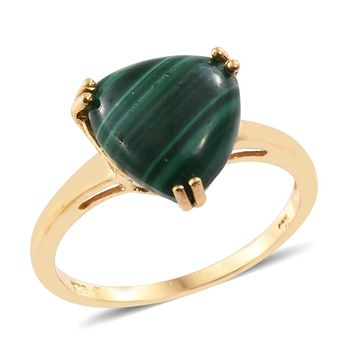 Malachite 14K Over Sterling Silver Ring