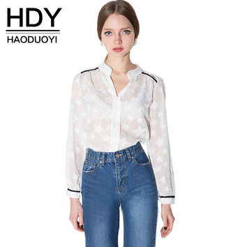 HDY Haoduoyi 2017 Autumn Fashion Women Buttons Down Sheer Sexy Star Pattern Blouses Long Sleeve Casual Fashion Shirts
