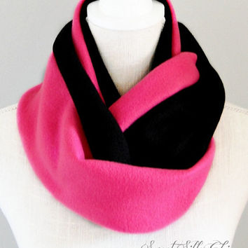 Hot Pink and Black Fleece Infinity Scarf, Fall Winter Scarf
