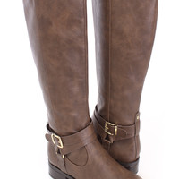 Light Brown Ankle Buckle Strap Riding Boots Faux Leather