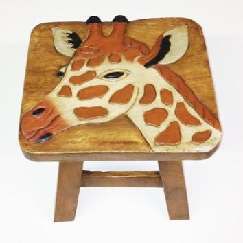 Giraffe Hand Carved and Hand Painted Wooden Footstool