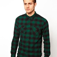 ASOS Shirt In Long Sleeve With Buffalo Plaid - Green