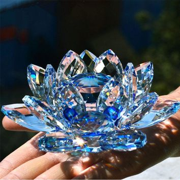 80mm Quartz Crystal Lotus Flower
