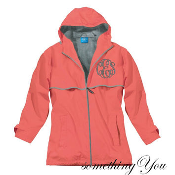 Monogrammed Rain Coat Jacket Coral- Elegant Monogrammed Personalized Customized Initials Embroidered Aqua Coral Navy Yellow Pink