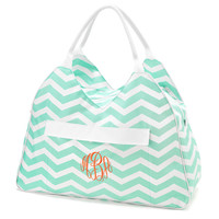 Mint Chevron Zig Zag LARGE Beach Tote Beach Bag Travel Tote Travel Bag Swim Bag Wedding Party Bridesmaid Pool Bag Overnight Bag Carry All