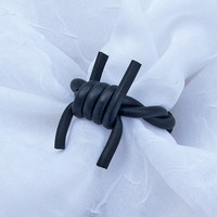 Black barbed wire ring with silver-plated wire & rubber. Adjustable finger ring. Gothic, punk, vampire, emo.