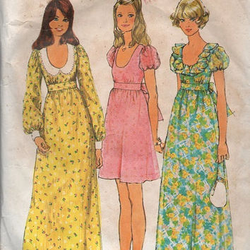 Simplicity 70s Sewing Pattern Hippie Boho Style Dress Maxi Mini Length Peter Pan Collar Empire Waist Bust 34